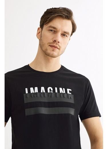 Avva Erkek  Bisiklet Yaka Baskılı Tişört A01Y1076 Beyaz